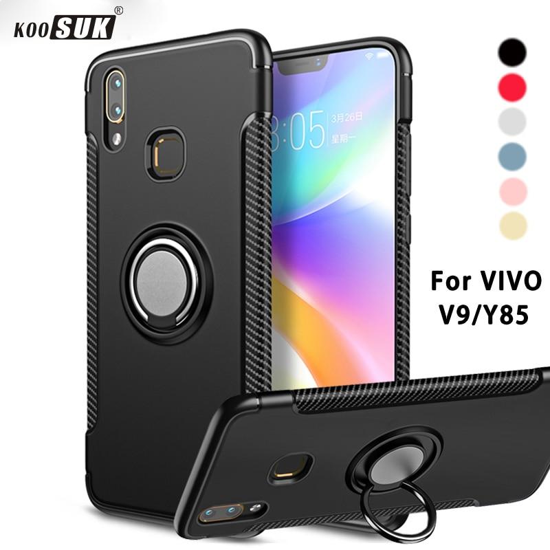 V9 Case For VIVO V9 Cover Armor 360 Full Protection Ring Magnetism Holder Shockproof TPU+PC Cases for Y85  V9 Car Phone Coque