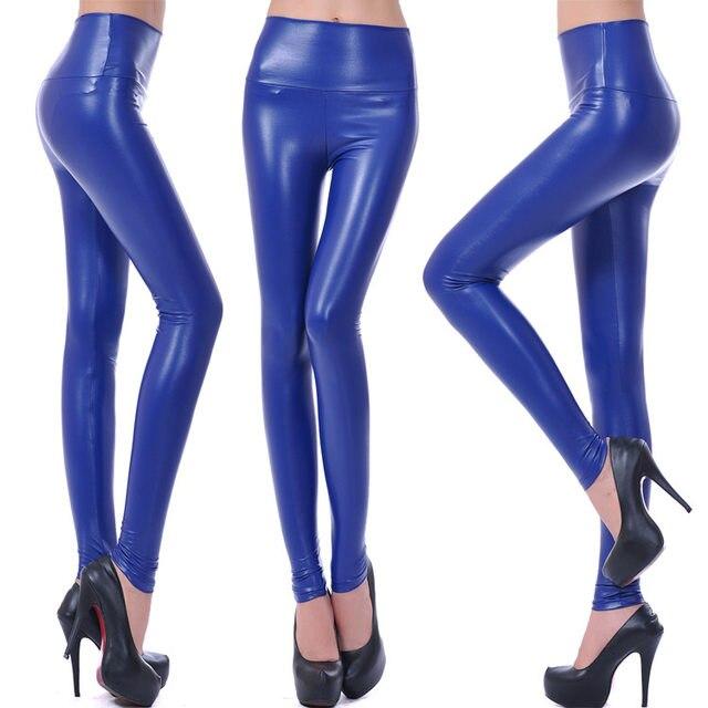 10 Colors Winter Leggings For Women High Waist Black Leather Pencil Pants Autumn Plus Size Skinny Slim Shiny Fleece Trousers 37