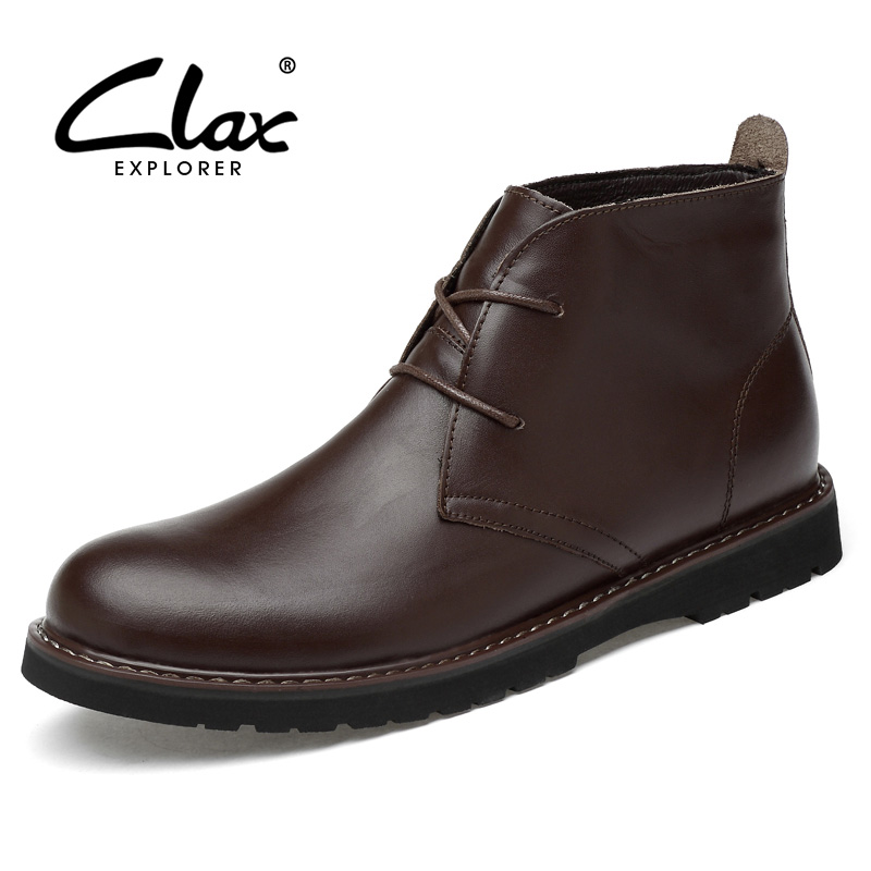 CLAX Men Desert boots Genuine Leather Ankle dress Boot Men casual Shoes Chukka Boot Autumn Winter Fur chaussure homme Plus Size недорго, оригинальная цена