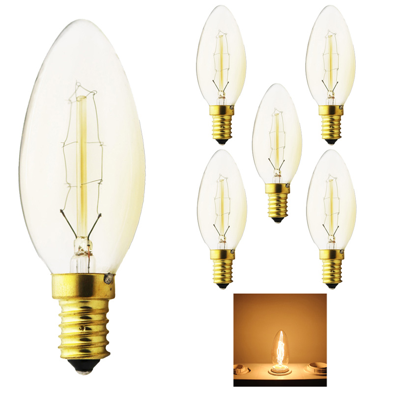 5x Dimmable 40W Carbon Art antique style light bulbs Tungsten vintage Edison lamp G35 Warm White E14 220V Halogen Bulbs Lighting