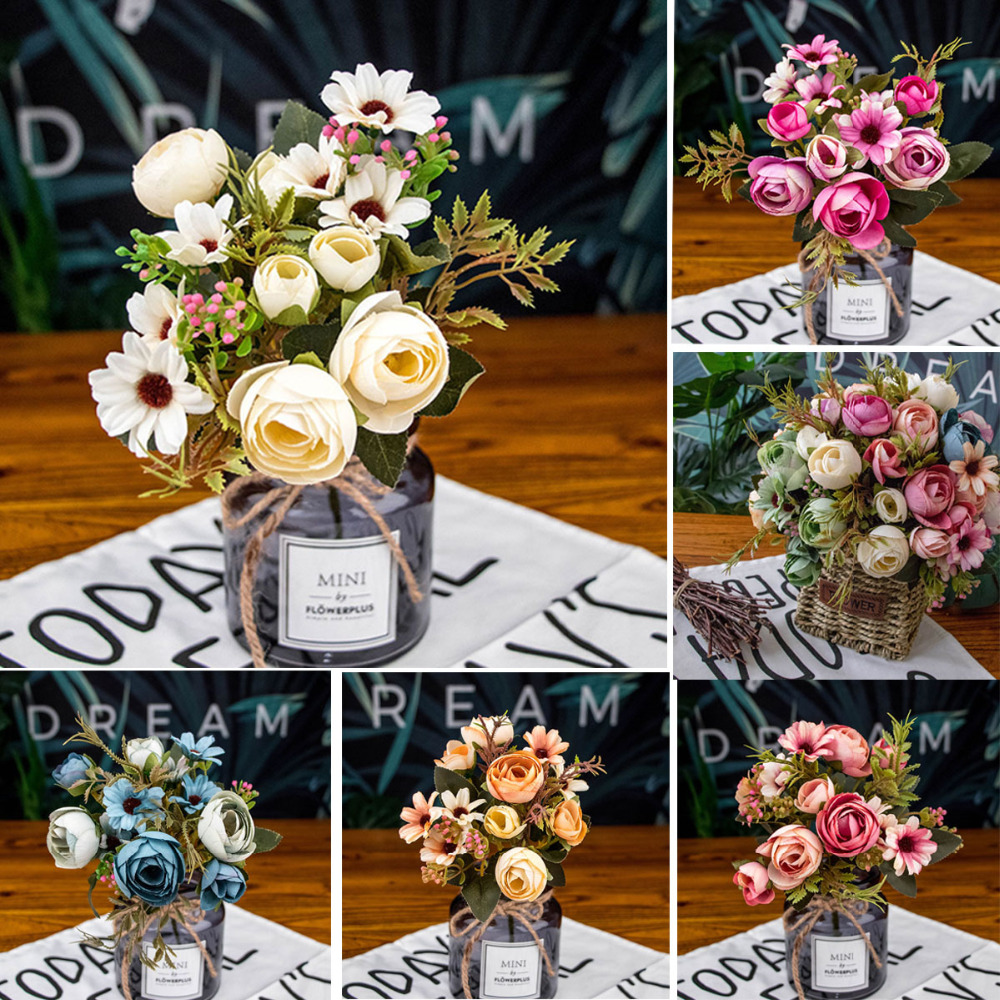 1 Bouquet 5 Forks Fake Artificial Flowers Floral For Home Wedding Garden Decor