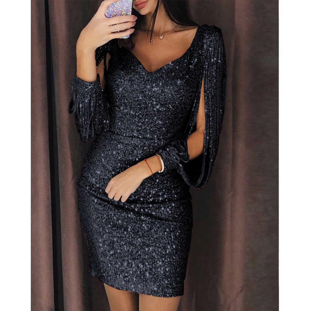 ... Gold Tassels Detail Slit Sleeve Sequin Dress Women Sexy Party Silver  Black Mini Bodycon Dresses Ladies ... d88e975453