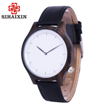 SIHAIXIN Wood Couple Watches For Lovers Analog Display Bamboo Leather Material Handcrafted Lady Men Clock Relojes Para Mujer