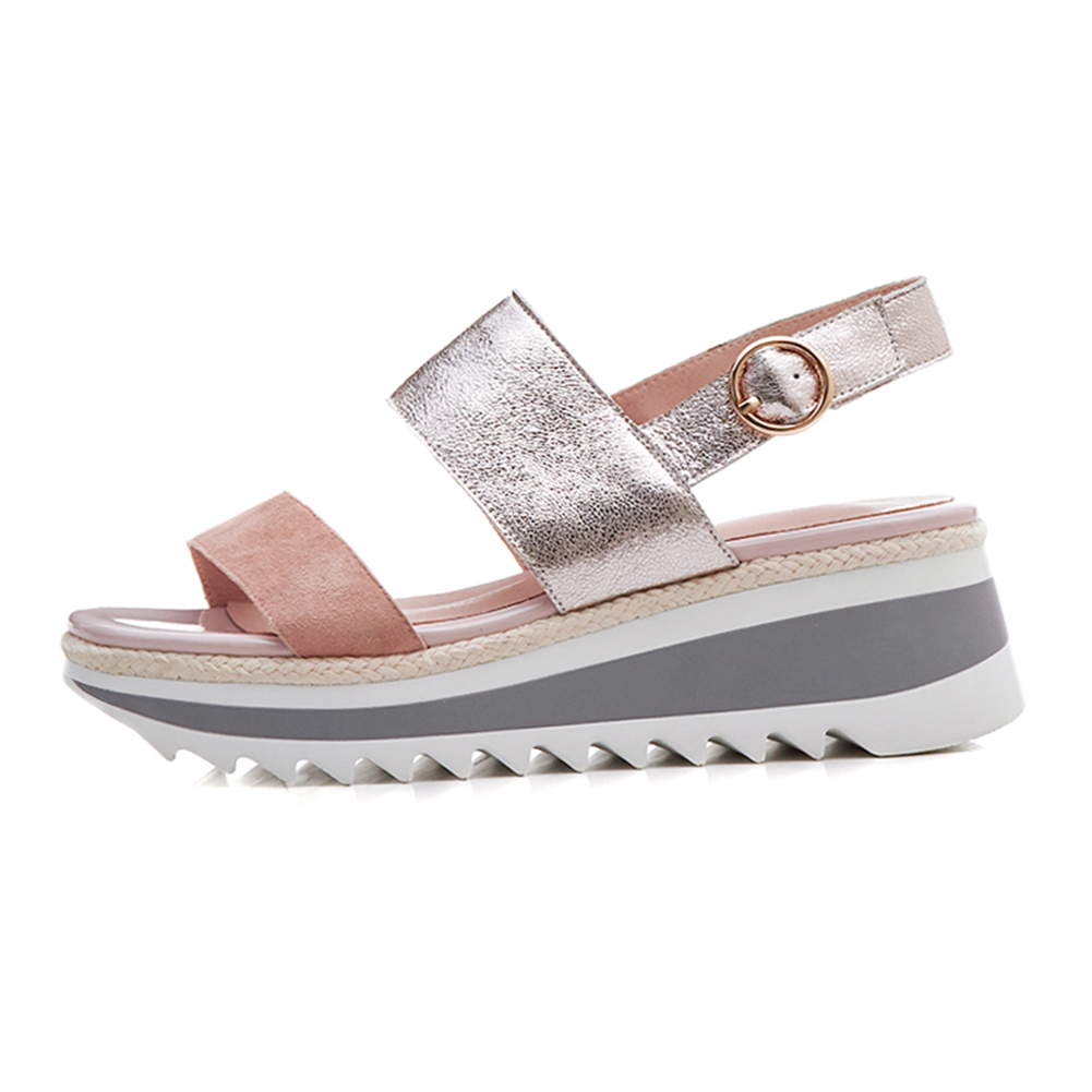 Doratasia 2019 verano moda nueva sandalias de plataforma de gamuza de cuero genuino mujeres dulce Casual zapatos de cuña alta Mujer-in Sandalias de mujer from zapatos    2