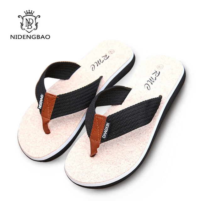 a0dbb129f5799 Summer Flat Sandals Men Slippers Leisure Flip Flop Home Mens Casual Shoes  Walking Cool Slippers Beach Man Plus Size 45