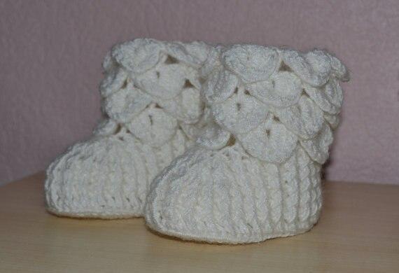 Crocodile Stitch Baby Booties White Crochet Booties Crochet Baby