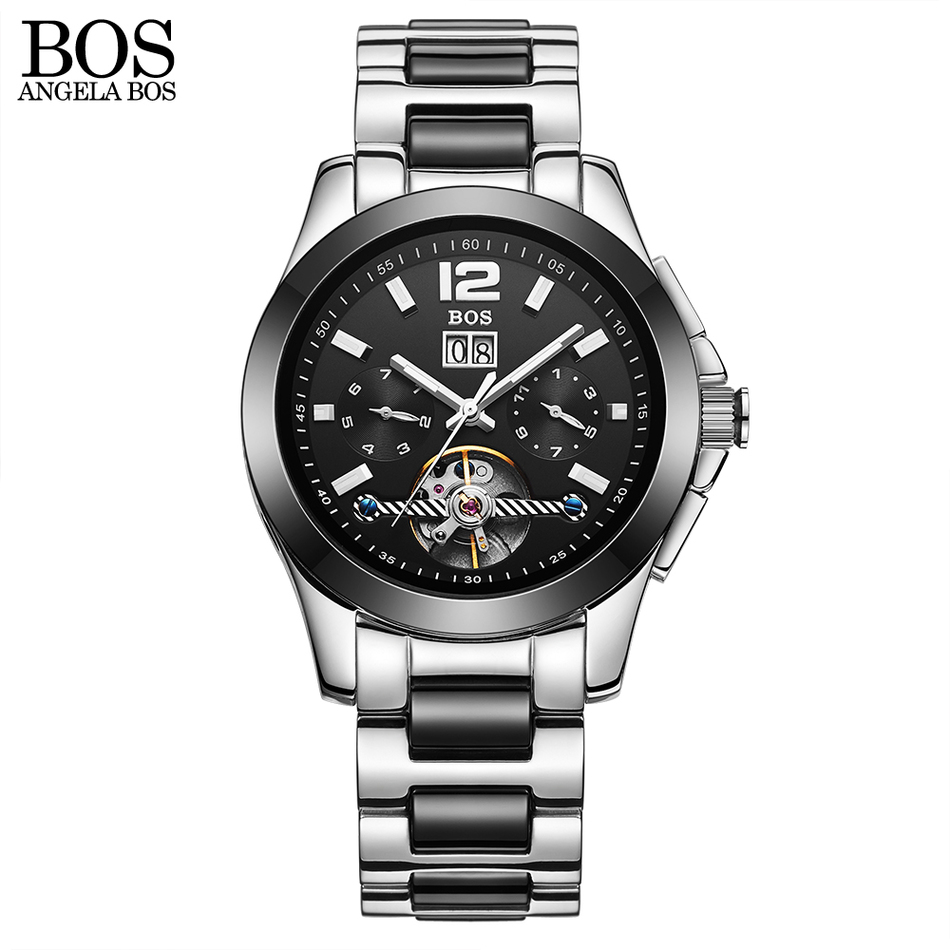2017 New Top ANGELA BOS Brand Watch Men Luxury Business Automatic Mechanical Watches Casual Fashion Calendar Luminous Wristwatch new business watches men top quality automatic men watch factory shop free shipping wrg8053m4t2