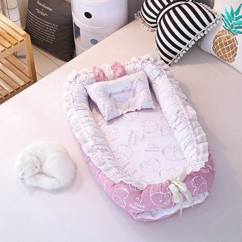 Portable Crib Baby Nest Bed Folding Newborns Cots Nursery Sleep Nest With Pillow Infant Cradle Baby Bassinet Bed Carry Cot