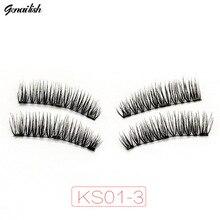 Genailish 3 Magnetic Lashes False Eyelashes Hand Made Full Strip Natural Cross Magnet With Box KS01-3