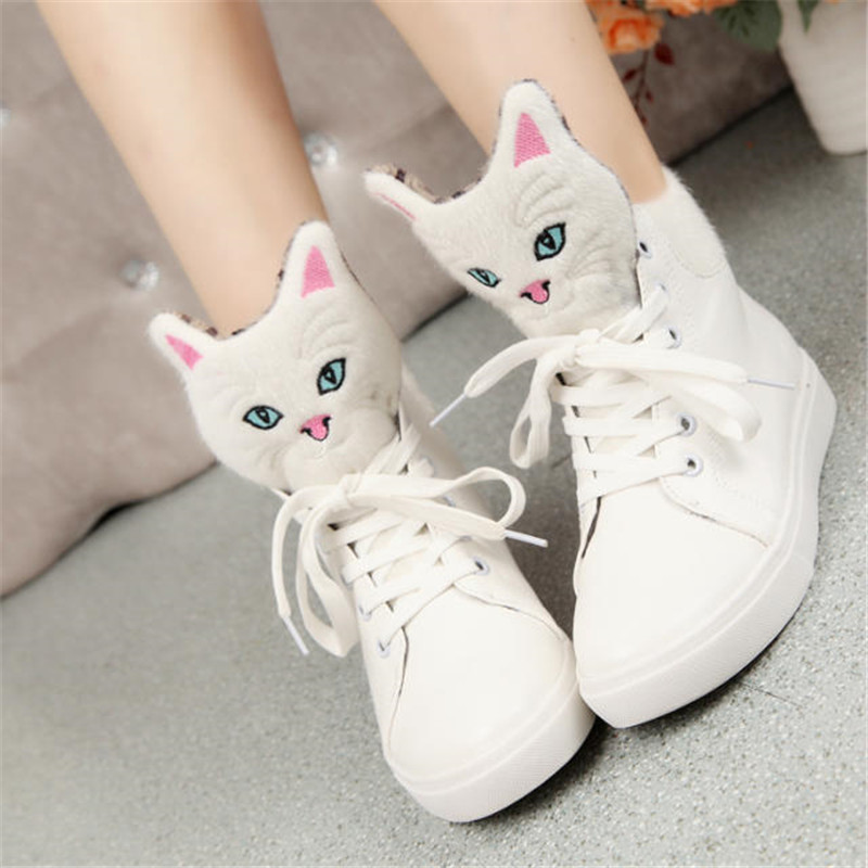 2017 Girls Lovely Casual Shoes Cartoon Cat Comfortable Student Shoes Zapatos Mujer