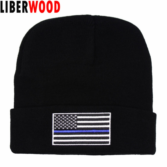 7749783e837 LIBERWOOD Thin blue  red line beanie men women winter hat skull USA flag  fire fighter beanies Support Police Law Enforcement