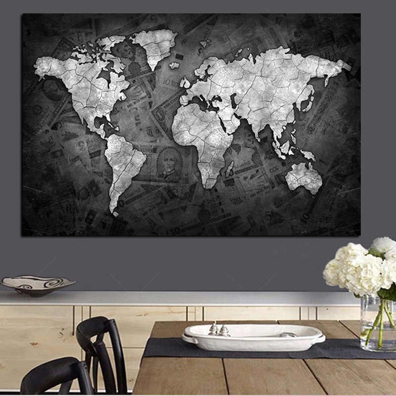 Abstract 3D World Map Canvas Painting Globe Maps on Money Background Print On Canvas for Office Room Wall Picture Cuadros Decor
