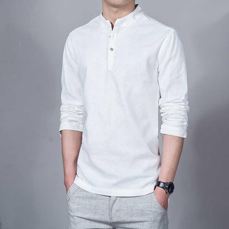 Sinicism Store ผู้ชายผ้าลินินผ้าลินินเสื้อผู้ชายยาวแขนยาวสีทึบคอจีนเสื้อผ้าชายขนาดเสื้อลำลอง