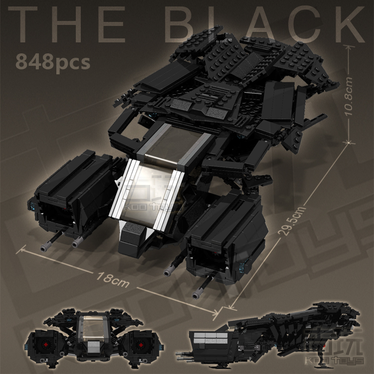 MOC 848pcs BATMAN MOVIE THE BLACK V1.0 Bat-Fighter SUPER HEROES Building Blocks Bricks Kids Toys Gifts -NOT INCLUDE MINIFIG moc the iron man work station hall of armor war machine super heroes avengers building blocks kids toys not include minifig