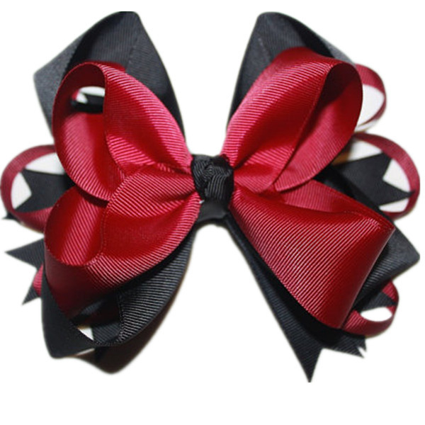 Usd1.5/pc Big Stacked Boutique Hairgrips 6cm Hair Clips Maroon/black Bows Grosgrain Ribbon Bows Good Quality Hair Accessories