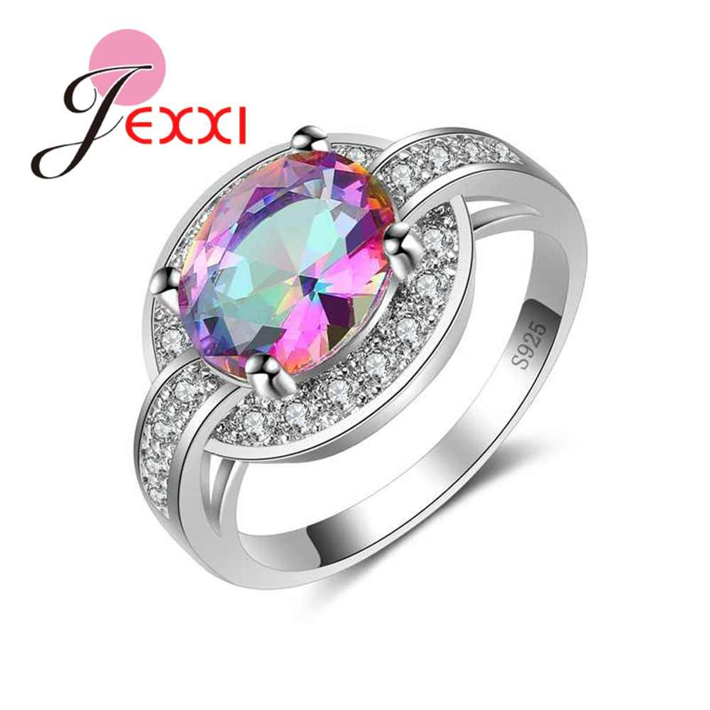 Mystery Oval Colorful Cubic Zirconia Finger Rings 925 Sterling Silver -silver-jewelry for Women Girls Engagement Bague Femme