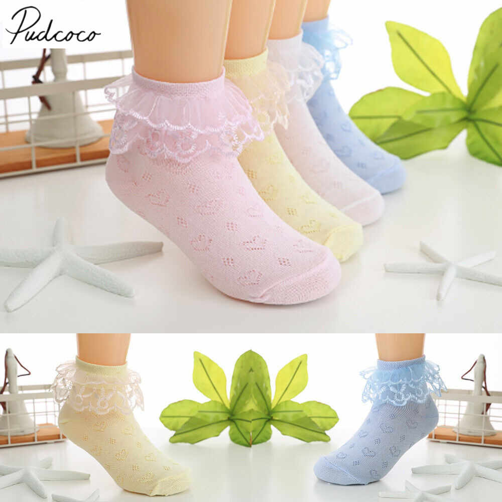 2019 Children Accessories 2-8 year old New Nice Kid Toddlers Girls lovely Lace Design Short Socks One Pair Layered Dance Socks
