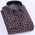 Qualidade Inverno Quente de Manga Longa Camisas Casuais Para Homens Engrossar Veludo Xadrez Cheque Slim Fit Camisas camiseta masculina manga curta