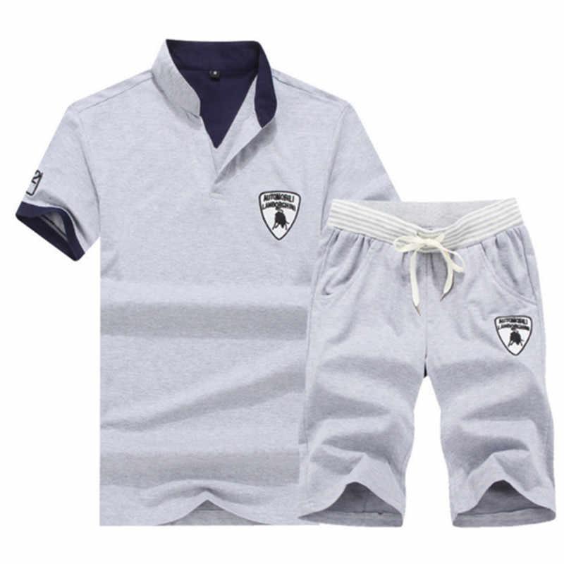 Короткие наборы для ухода за кожей для мужчин повседневные костюмы Спортивная костюм Стенд воротник Лето Мужской верхняя одежда, толстовки