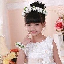 Искусственный венок детский венок Свадебный венок с искусственными цветок Маленькие Девочки повязка с цветами Дети