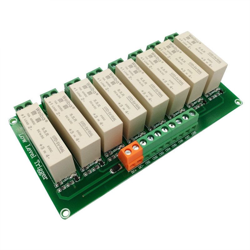 8 channel low-level trigger solid-state relay module 10A high current control DC solid state relay FOR PLC automation equipment dc 12v led display digital delay timer control switch module plc automation new