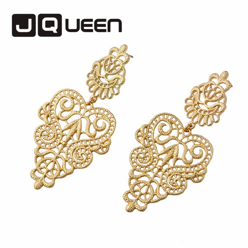 Hot Sale Large Round Hollow Flower Earring Gold color Vintage Chic Dangle Eardrops Women Fashion Jewerly