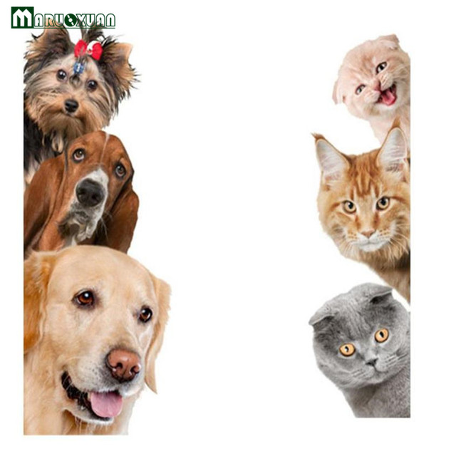 Maruoxuan Cute Funny 3d Cat Dog Door Wall Stickers Removable Sitting