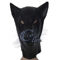 Crazy club_Black Latex Wolf Masker met back rits Hoofd Kostuum Theater Prop Novelty Rubber Volledige Gezicht Dier Party Hood