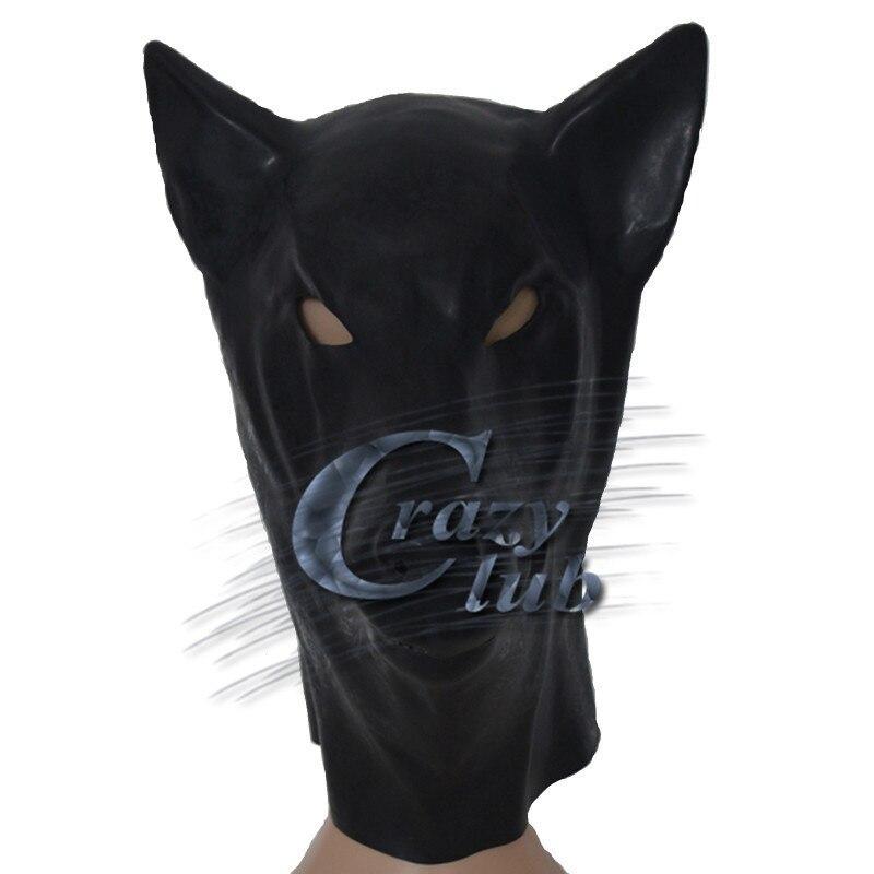 Masque de loup en Latex noir Crazy club_Black avec tête à glissière arrière Costume d'halloween accessoire de théâtre nouveauté en caoutchouc visage complet capot de fête des animaux