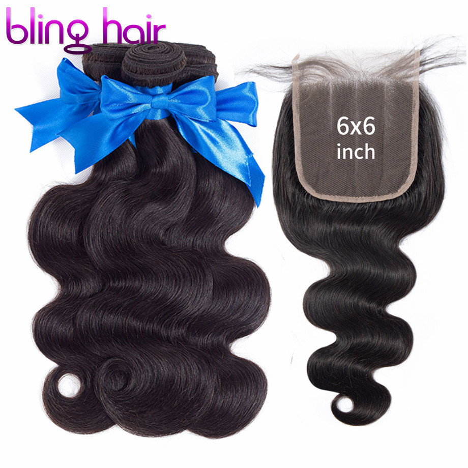 bling hair 6x6 Lace Closure With Bundles Brazilian Body Wave Bundles with Closure 100 Remy Human