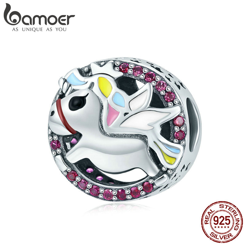 цена BAMOER Hot Sale Genuine 925 Sterling Silver Colorful CZ Licorne Memory Beads Fit Charm Bracelets & Necklaces DIY Jewelry SCC848