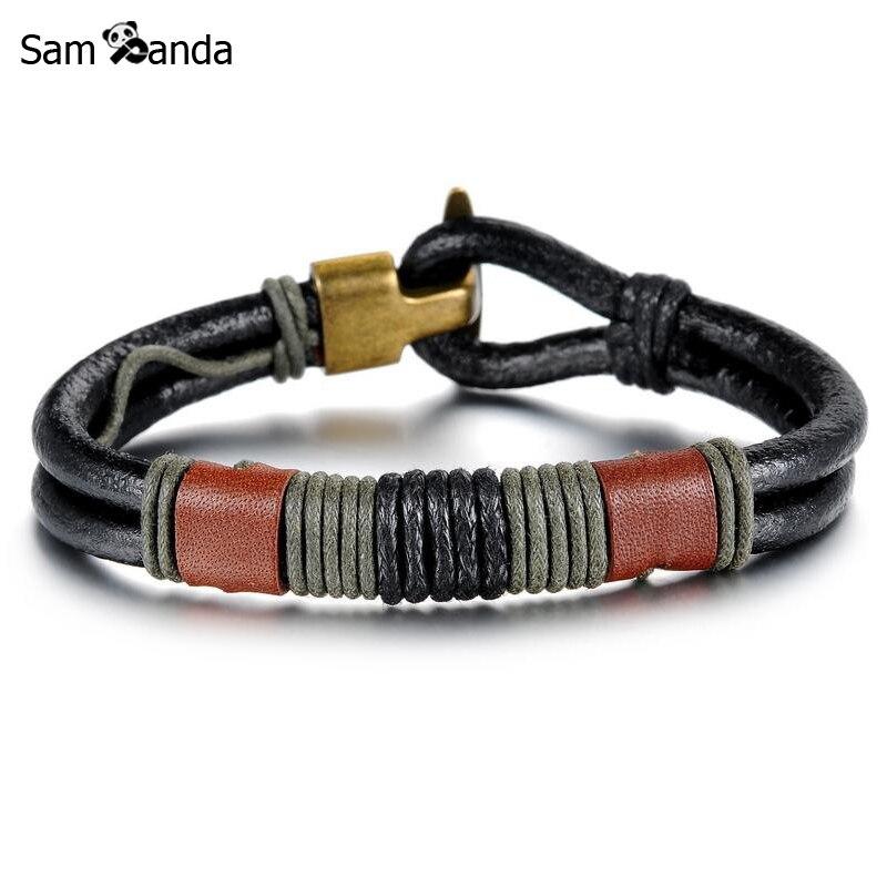 Free Shipping New Fashion Jewelry Wholesale Genuine Leather Braided Rope Joker Men Bracelets Bangles Christmas Gifts