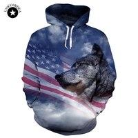 Unicomidea Men/Women 3d Sweatshirts Print USA Flag Stars Stripped Hoody Hooded Tops Unisex Pullover Animal Wolf Hoodies With Cap