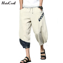 Hot Fashion Sexy Summer Linen Pants Loose Wide Leg Chinese style Mens Cotton Casual 7 Points Big Size Beach