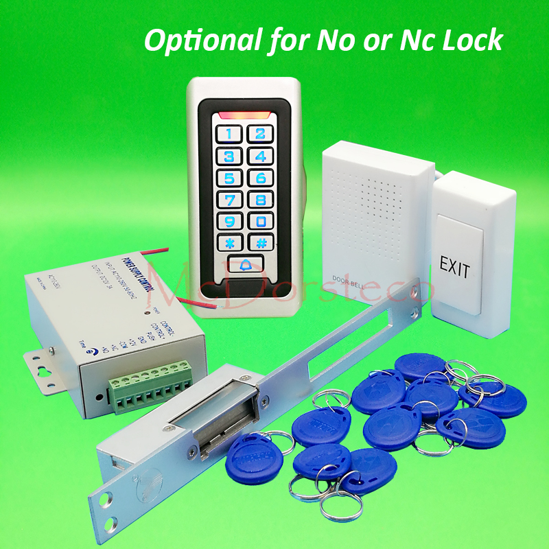 Metal IP68 Waterproof Full 125khz Rfid Door Lock control system Kit Yli NO NC Long Electric Strike Lock+Power supply+Door BellMetal IP68 Waterproof Full 125khz Rfid Door Lock control system Kit Yli NO NC Long Electric Strike Lock+Power supply+Door Bell