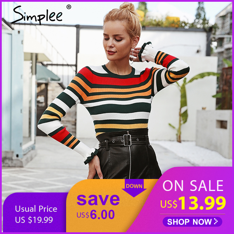 Simplee Ruffles stripe autumn winter sweater O ncek long sleeve casual pullovers Pink slim knitted sweaters fashion 2018 women