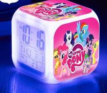 Pinkie Pie LED Alarm Digital Clock Light Up 7 Color Flash clocks Toys thermometer Calendars Watch Snooze Touch(China)