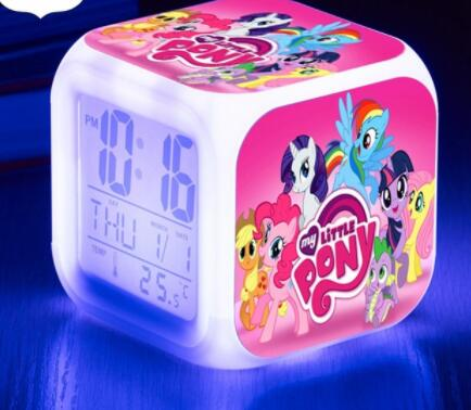 Pinkie Pie LED Alarm Digital Clock Light Up 7 Color Flash clocks Toys thermometer Calendars Watch Snooze Touch