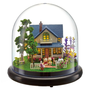 Cute Room Doll House Miniature DIY Dollhouse With Furnitures Transparent Cover Wooden House Toys For Children Gift B014 #G