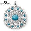 GAGAFEEL серебряные украшения натуральный камень бирюзовый серебряный кулон/диск ожерелье очарование