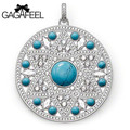 GAGAFEEL silver jewelry natural stone turquoise silver pendant / disk pendant necklace charm