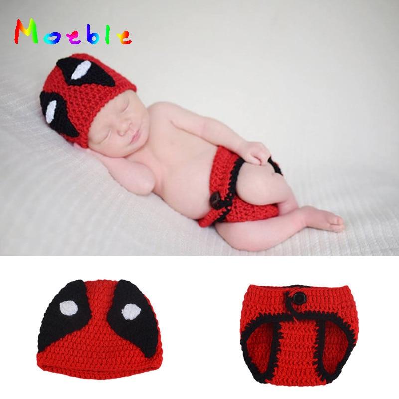 Del bebé del ganchillo niños Deadpool foto hecha punto sombrero ...