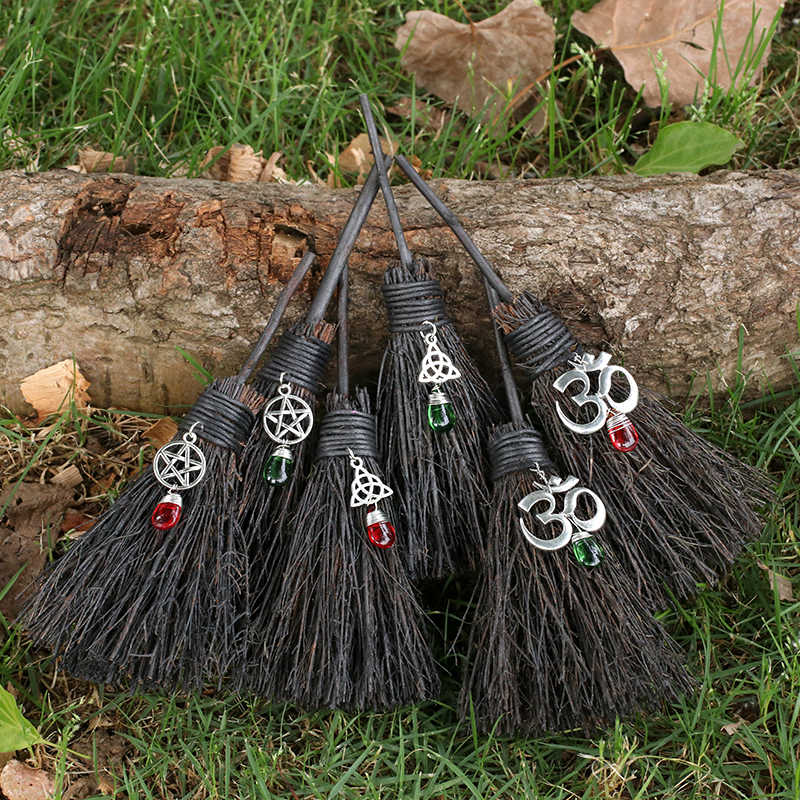 MINI Wicca Celtic Broom Crystal Stone Travel Protection Charm For Rear View  Mirror Witchcraft Pentagram Crystal Broom