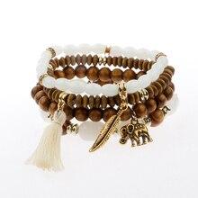 Multicolored Feather, Tassel & Elephant Charm Bracelet