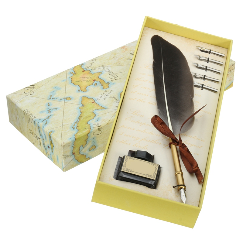 KICUTE Black Antique Quill Feather Dip Pen Writing Ink Set Stationery Gift Box with 5 Nibs Quill Pen Fountain Pen Wedding Gift kicute retro feather quill dip pen set with 5 pen nib writing ink seal wax sticks set with gift box stationery fountain pen gift