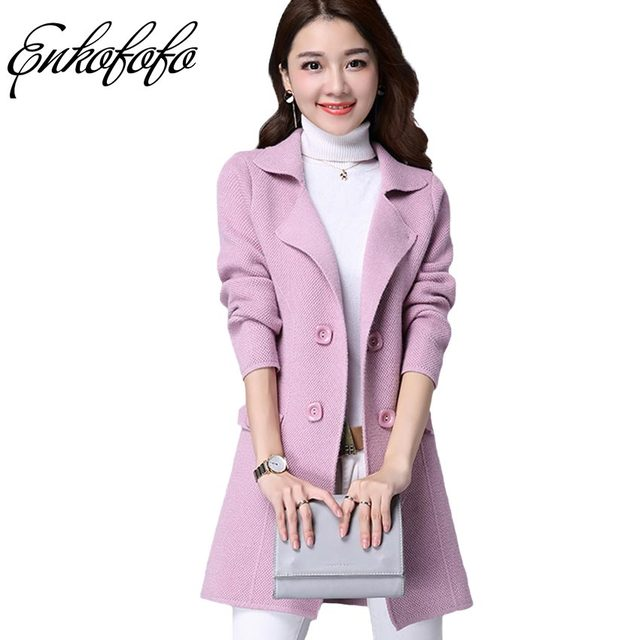 Cardigan 2017 Women Cashmere Sweater Slim Lady Winter Thick Long ...