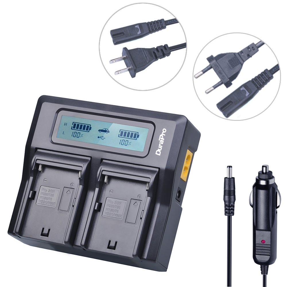 DuraPro LCD Dual Faster Charger for SONY NP-F960 NP-F970 NP F960 F970 Rechargeable Battery and HVR-HD1000 HVR-HD1000E HVR-V1J 4pc 7200mah np f960 np f970 np f960 f970 rechargeable batteries lcd quick charger for sony hvr hd1000 hvr hd1000e hvr v1j