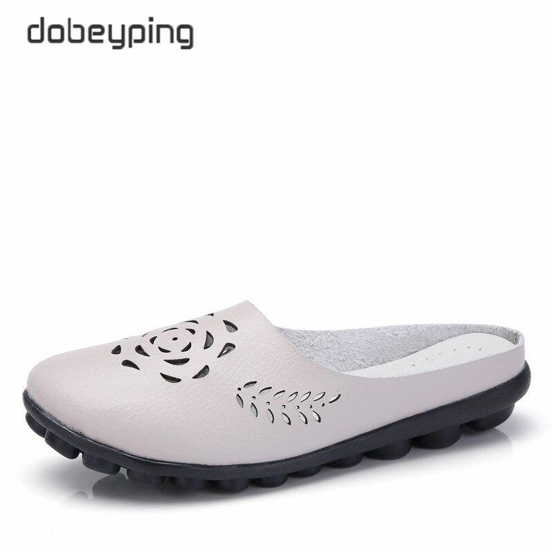 Dobeyping 2018 zapatos casuales de verano para mujer, zapatos de cuero genuino, mocasines huecos para mujer, zapatos sólidos para mujer, talla grande 35-44