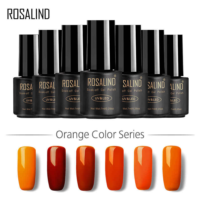 Gel ROSALIND 1S serie de Color naranja barniz de Gel 7ML manicura arte UV LED semipermanente Soak-Off esmalte de uñas de Gel