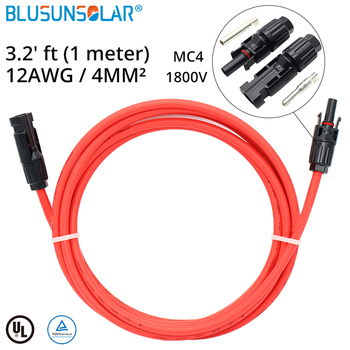 50 PCS /Lot Hot Selling 4mm2 1 Meter 12AWG Solar Extension Cable With PV Connectors Male Female For Soalr Pv System Solar